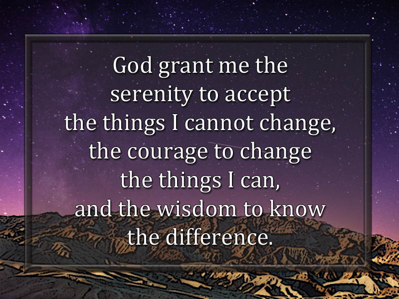 Giving Up Control serenity prayer